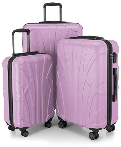 Suitline 3er Koffer-Set Trolley-Set Rollkoffer Hartschalen-Koffer Reisekoffer, TSA, (55 cm, 66 cm, 76 cm), 100% ABS, Matt, Flieder