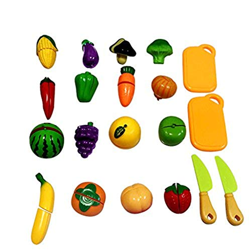 sunnymi Niños Cocina Baby Juegos Accesorios Cocina Infantil Rollo Juegos, 20pcs Happy Toy Verduras Alimentos Juguete Cortes Set