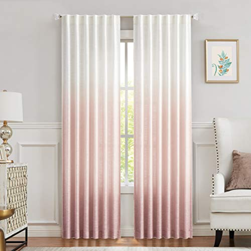 Central Park Ombre Window Curtain Panel Linen Gradient Print on Rayon Blend Fabric Backtab Rod Pocket Drapery Treatments for Living Room/Bedroom, Cream White to Pink, 50' x 95', Set of 2