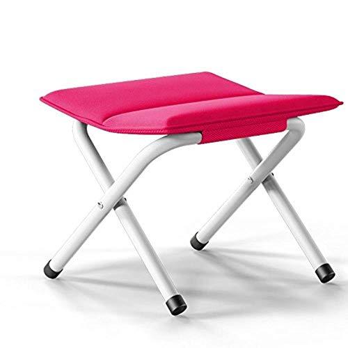 THBEIBEI Zapateros Reposapiés Taburete Plegable portátil de sillas Ligeras Plegables de Pesca de Aluminio Asiento de Lino for Camping Caminar Senderismo Garden Festival MAX.120kg Rosa