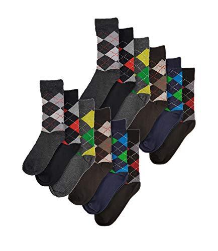 Sockstack® 12 Pairs Of Men's Argyle Diamond Designer Socks, Cotton Rich Socks, Size 6-11