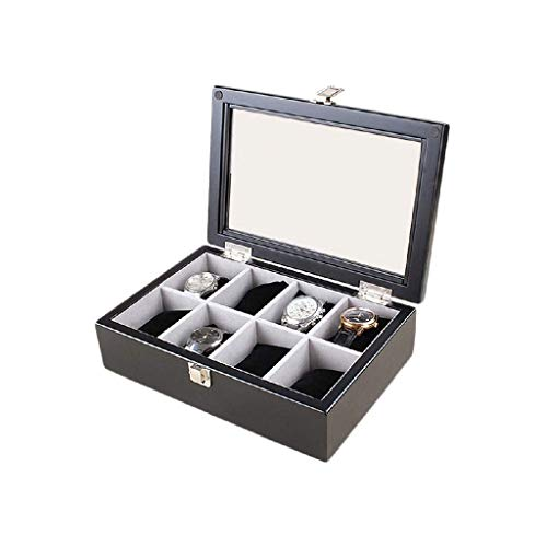 YUTRD ZCJUX Joyería de la Caja de Reloj-Funda de Almohada Organizador Box - Premium de Lujo vitrinas de Cristal con Tapa enmarcada Elegante Contraste Costuras Resistentes (Color : Black)