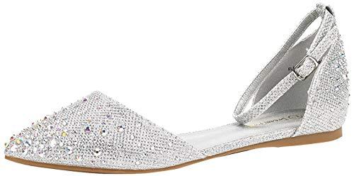 DREAM PAIRS Flapointed-Shine Zapatos Planos con Punta Cerrada para Mujer Plateado 41 EU/10 US
