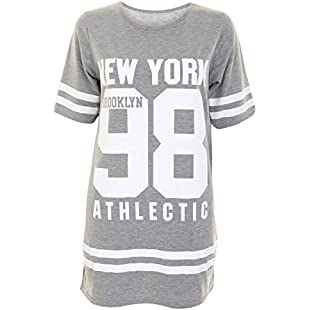 Womens Ladies American 98 Varsity Football Oversize Baggy T Shirt Top Plus Size Dress Tunic (20-22 (XXXL), Light Grey)