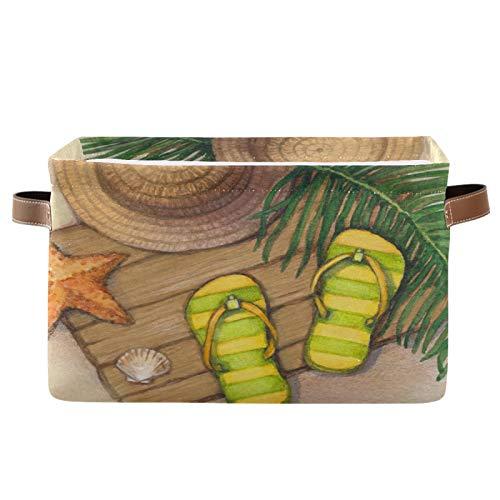 JinDoDo - Cestas de almacenamiento cuadradas para playa, estrellas de mar, zapatillas, sombrero, caja de almacenamiento plegable, impermeable, interior para armario de baño, juego de 1