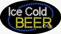 15x 27x 1インチIce Cold Beerアニメーション点滅LEDウィンドウサイン
