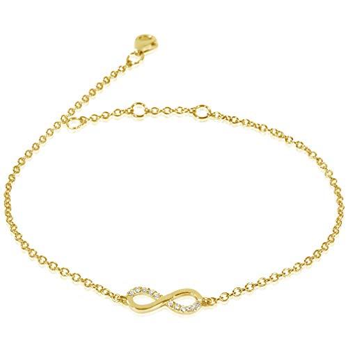 MILLE AMORI ∞ Pulsera Mujer Oro y Diamantes , longitud ajustable 18/17/16 cm - Oro Amarillo 9 Kt 375 ∞ Diamantes 0.04 Kt
