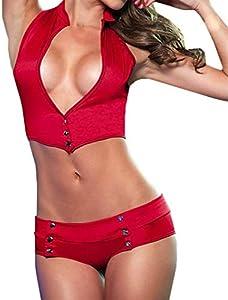 KIMODO Conjunto de 2 Piezas de Mujer Sexy Vendaje Clubwear Stripper Ropa Interior de Charol Mujeres Atractivas Tanga Sujetador