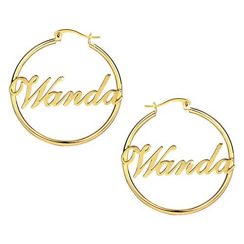 Pendientes con nombre Pendientes personalizados Nombre grabado Dangler Gota redonda Aniversario para mujer(Oro 3.15)