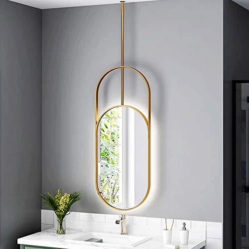Bathroom Mirror Espejo de Baño Oval con Luz LED Retroiluminada, Colgante con Marco de Dorado/Negro, Maquillaje, Espejo de Afeitar