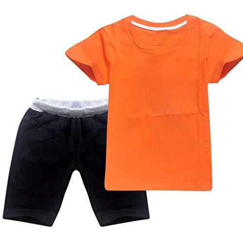 Conjunto de Pantalones Cortos con Camiseta de Manga Corta Unisex para niños y niñas (2-16 años) Naranja Negro 150CM