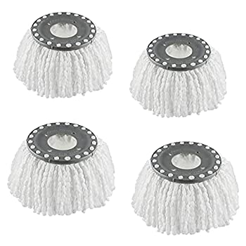 4 Premium Replacement Mop Heads Refills Hurricane Compatible 360° Spin Magic Mop head fits 6.3'' Standard Replacement Round Spin Mop Heads Microfiber Inner hole 2.5   Only - Machine Washable(White)