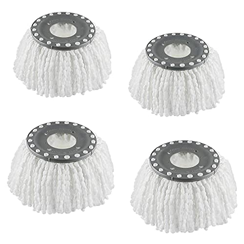 4 Premium Replacement Mop Heads Refills, Hurricane Compatible 360° Spin Magic Mop head, fits 6.3'' Standard Replacement Round Spin Mop Heads Microfiber, Inner hole 2.5'' Only - Machine Washable(White)