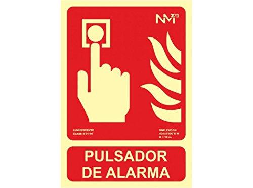 Normaluz RD00111 RD00111-Señal Luminiscente Homologada Pulsador de Alarma Clase B PVC 0,7mm 21x30cm Alta Calidad, Rojo