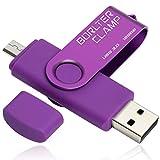 128GB Memoria USB, BorlterClamp Unidad Flash USB de Puerto Doble (USB 3.0 y Puerto Micro USB), OTG Memory Stick Pendrive para Smartphones, Tabletas y Computadoras (Morado)
