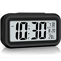 WulaWindy Led Display Digital Alarm Clock Battery Operated Smart Night Light Easy Operation Clock for Kids Heavy Sleepers Bedroom Clock (Black)