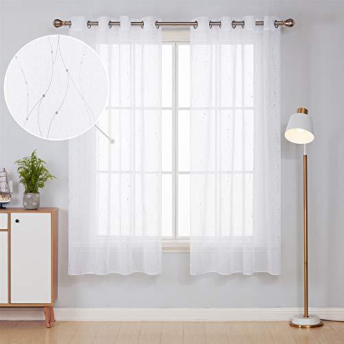 Deconovo Cortinas Visillos Dormitorio Moderno con Líneas con Ollaos 132x214cm Plata