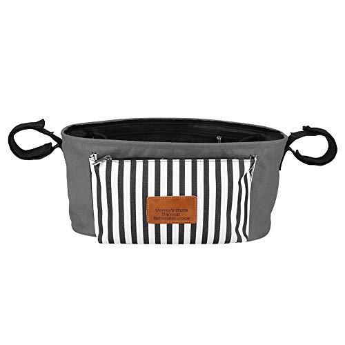 DaMohony – Borsa per passeggino, borsa portaoggetti per pannolini, oggetti per bebè, universale per passeggini, colore: nero única -- 35 * 16 * 13cm grigio