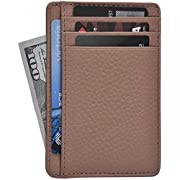 Clifton Heritage Leather Wallets for Women - RFID Blocking Ultra Slim Minimalist Front Pocket Wallet (Nude Floater)