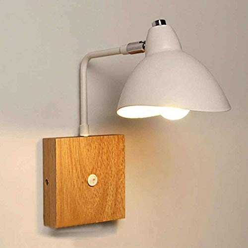 ACXLONG Lámpara de Pared Moderna escandinava E27 Pantalla de Metal Blanco Lámpara de Pared con Base de Madera con Interruptor de Encendido/Apagado Iluminación de Lectura Aplique de Pared Cableado p