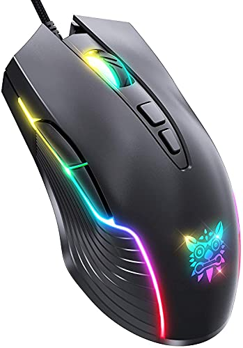 ONIKUMA Gaming Mouse Wired, Gaming Mice with 7 Programmable Buttons, Chroma RGB Backlight, 6400 DPI Adjustable, Ergonomic Optical USB Computer Gaming Mice for Windows PC/Mac/Laptop Gamers