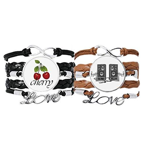 Bestchong Song Music - Juego doble de pulsera con diseño de caja de altavoz y correa de mano de cuero, cuerda de cereza, diseño de caja de altavoz