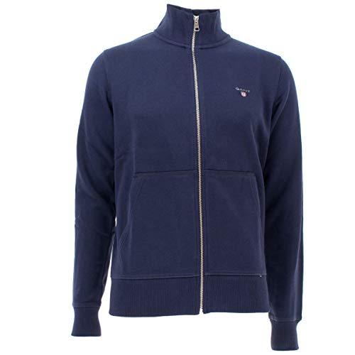 GANT Herren The ORIGINAL Full Zip Cardigan Sweatjacke, Blau (Evening Blue 433), Medium (Herstellergröße: M)
