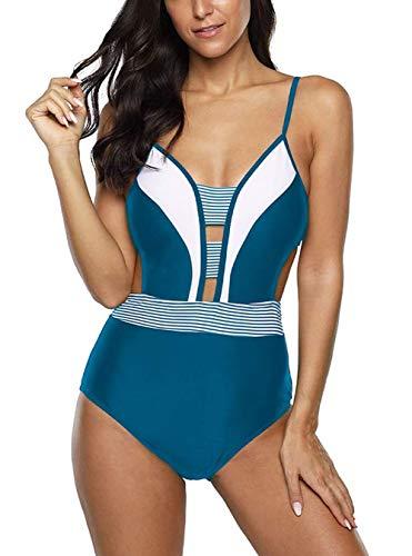 DELEY Trajes de Baño de Una Pieza para Mujer Bikini Acolchado Trajes de Baño Control de Barriga Cuello V Profundo Monokini
