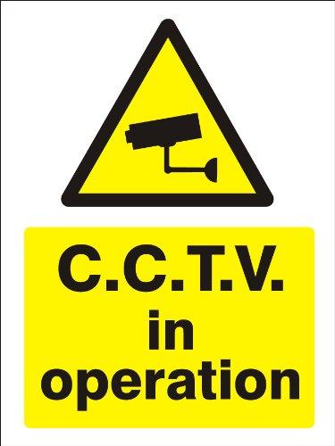 Avvertimento CCTV in segno di funzionamento. rigido. Stampato. 150x 200mm