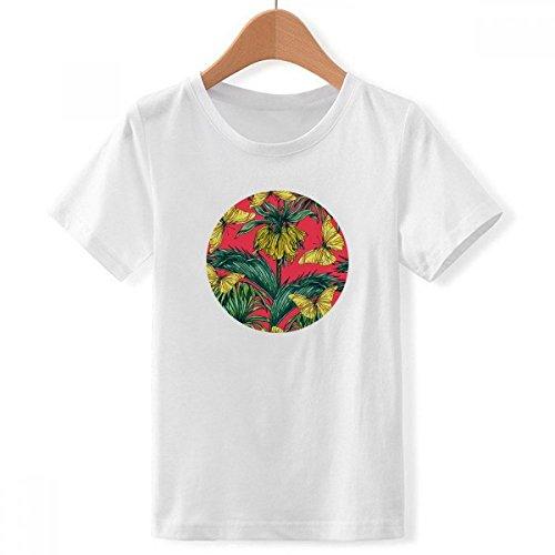 DIY thinker jongen bloem plant blad roze vlinder met ronde hals wit T-shirt