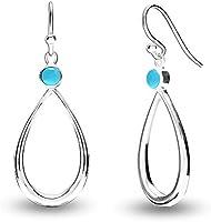 HIKARO Sterling Sliver Jewelry Teardrop Earrings for Teens and Women (Gemstone Birthstone Round 4MM)