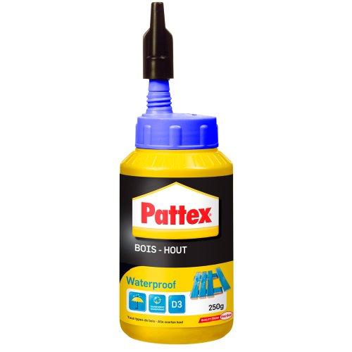 Pattex Bois Hout Waterproof, Biberon de colle à bois résistante, Colle vinylique pour montage, assemblage, placage ou contrecollage en milieu humide et chaud, 250 g