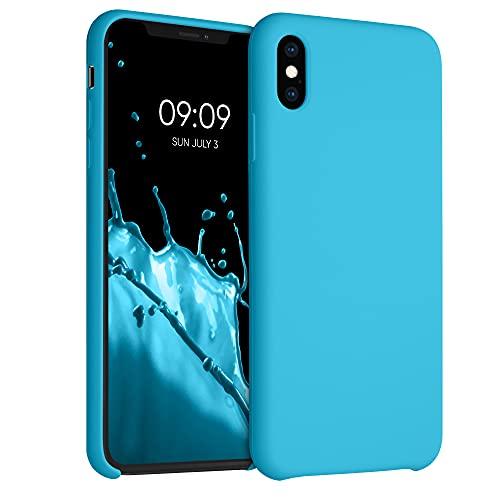kwmobile Custodia Compatibile con Apple iPhone XS Max - Cover in Silicone TPU - Back Case per Smartphone - Protezione Gommata Celeste Scuro