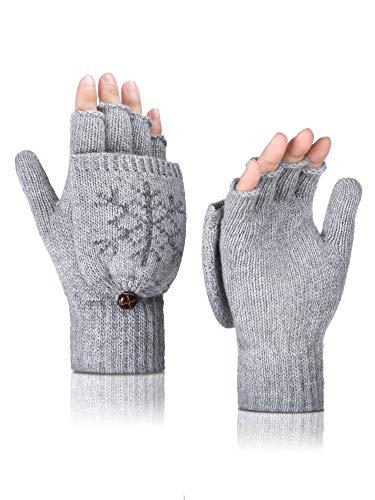Tatuo Frauen Cabrio Handschuhe Warme Strickhandschuhe Halbe Fingerlose Handschuhe mit Bezug