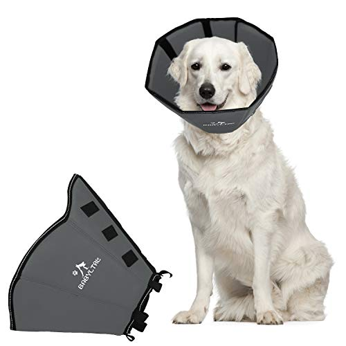 BABYLTRL Dog Cone Collar Soft, Dog Recovery Collar for Dogs and Cats, Protective Collar After Surgery for Small Medium Large Dogs to Prevent from Biting & Scratching (Large, Sliver)