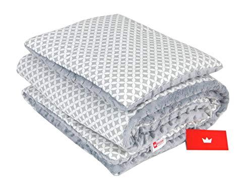 BABYLUX Babydecke Krabbeldecke MINKY Kuscheldecke Decke 75 x 100 cm mit KISSEN 30x35cm (23K. Grau + Marokko)
