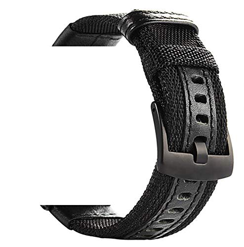20mm 22mm reloj de reloj para Samsung Galaxy Watch 46mm 42mm correa de reloj de cuero de nylon para reloj HW GT 2 para ver GT 2E 1033 (Band Color : Black, Band Width : 20mm)