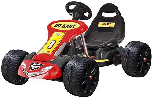 Regenboghorn Go-Kart, 4-Rad-Pedal, Outdoor-Racer mit verstellbarem Sitz, Bremse, Tretauto für Jungen und Mädchen (red-2)