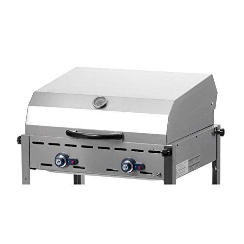 HENDI Rolltop Deckel, für HENDI Gasgrill 149508-149621, Green Fire, Grillsystem, mit integriertem Thermometer, 706x685x(H)239mm, Edelstahl 18/0