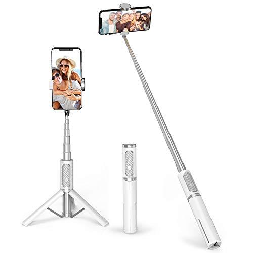 ATUMTEK Bastone Selfie Iphone, 103cm Estensibile Selfie Stick Treppiede Smartphone con Telecomando Bluetooth Wireless Rimovibile, Compatibile con iPhone Samsung Huawei LG HTC 4,7-6,5in ecc, Bianca