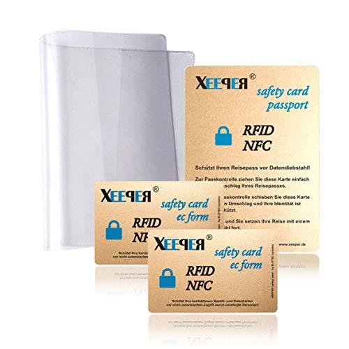 1. RFID/NFC Blocker Karten Set - für den perfekten Schutz All Ihrer Karten und den ePass Plus eine extra Starke glasklare original Reisepass Schutzhülle - Keine zusätzlichen Störsender am Körper