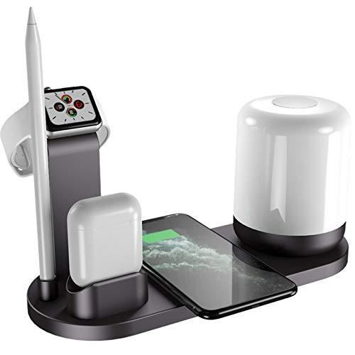 Bias&Belief Cargador Inalámbrico, Cargador de Inducción con Lámpara Nocturna, Entrada Tipo-C y Salida USB Doble, Estación de Carga Inalámbrica para Airpods/Reloj/Lápiz/iPhone y Android,Negro