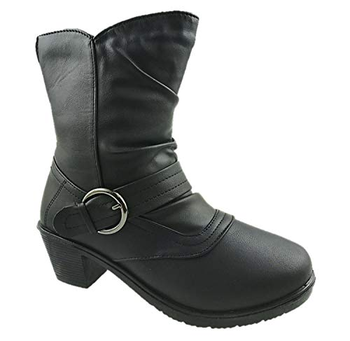 Ladies Faux Leather Lightweight Warm Lined Ankle Boots Inside Side Zip...