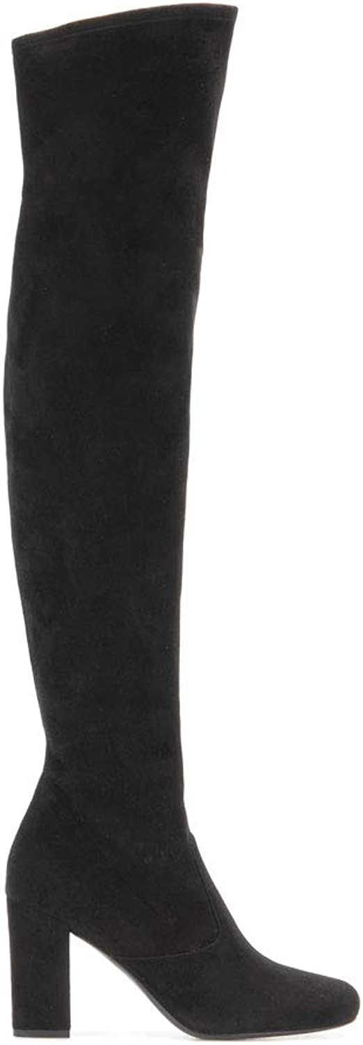 Women's Over-The-Knee Elastic Boots Thick with Boots High-Heeled Boots Round Head Waterproof Warm