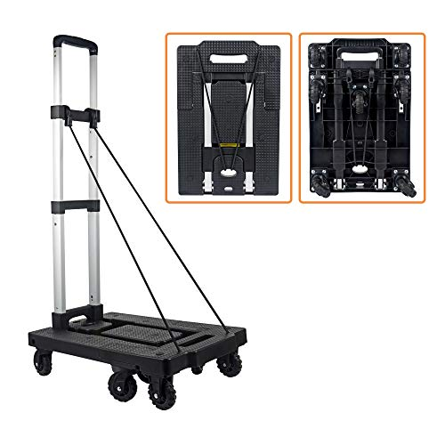 Folding Dolly Delivery Hand Cart Loading 330 LB with 7 Wheels and 2 Free Rope Platform Truck, Portable Aluminum Hand Truck,Folding Trolley Shopping Cart for Travel Moving and Office Use VT270