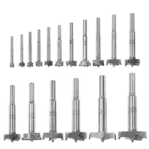 LICTOP Forstner Drill Bits 17Pcs Forstner Bit Set Drill Bits Tungsten High Speed Steel Woodworking Hole Saw Set Wood Drill Bits Auger Opener for Woodworking (15-28mm,30mm,32mm,35mm)
