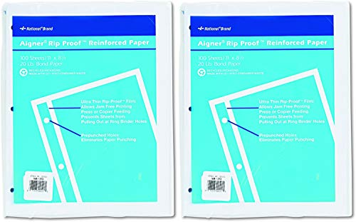 National 20121 Rip Proof 20-lb, Reinforced Filler Paper, Unruled, 11 x 8-1/2, White (Pack of 100 Sheets) - 2 Pack