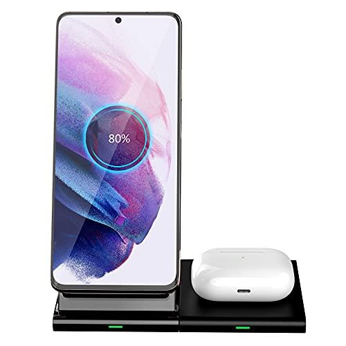 Hoidokly Cargador Inalámbrico 2 en 1, Soporte de Carga para iPhone 12/12 Pro/11 Pro Max/X/XR/XS/8/8P/SE 20, Base de Carga Rápida para AirPods Pro,Samsung Galaxy Z Flip/S20/S20 /S10/S10 /S9/S8/Note 20