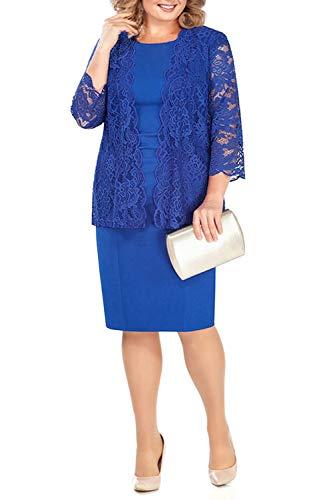 BABYONLINE D.R.E.S.S. Kleider für Brautmutter 2 Stücke Elegante Spitze Brautmutterkleid Etui Partykleid mit Jacke Outfit Bräutigam, königblau, Gr.46