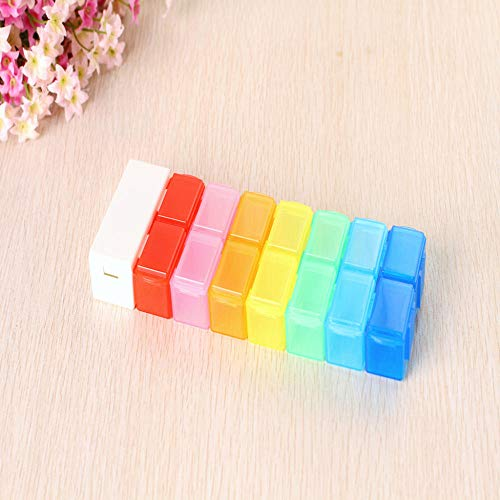 Yinaa Damp Proof Pill Box Removable 14 Compartments Medicine Cutter Weekly Pill Organizer with Moisture Proof Design Medicine Cutter+Medicine Box